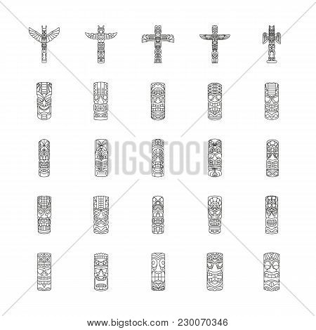 Totem Icons Set. Outline Illustration Of 25 Totem Vector Icons For Web And Advertising