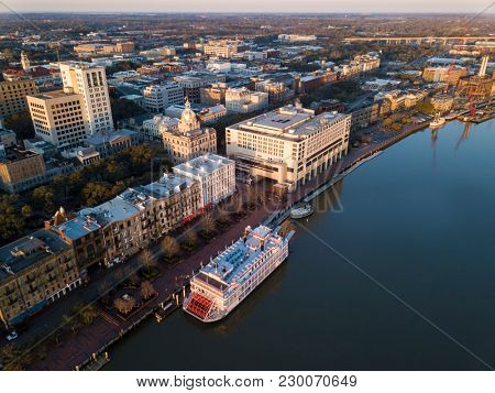 Aerial view of historic River Street and downtown Savannah, Georgia.