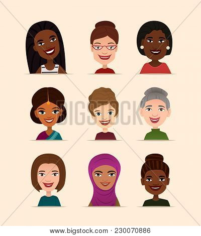 Happy People Avatar Icon Set Vector Illustration. Smiling Women Of Different Nationalities, People H