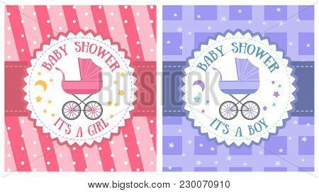 Baby Shower Party Invitation Template Set Vector Illustration. Holiday Banner With Baby Carriage, Ha