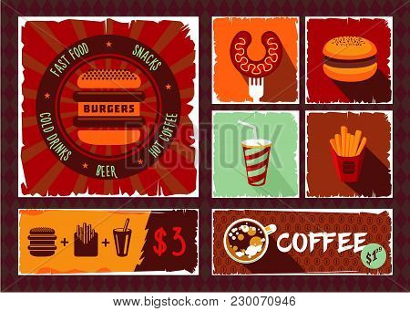 Vintage Fast Food Vector Photo Free Trial Bigstock