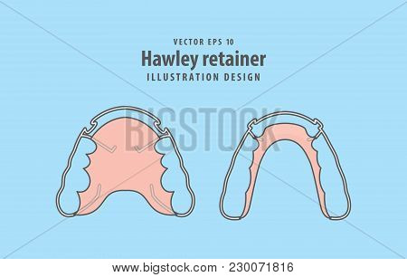 Hawley Retainer Illustration Vector On Blue Background. Dental Concept.