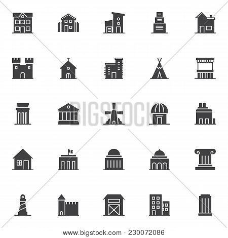 Landmarks And Building Vector Icons Set, Modern Solid Symbol Collection, Filled Style Pictogram Pack