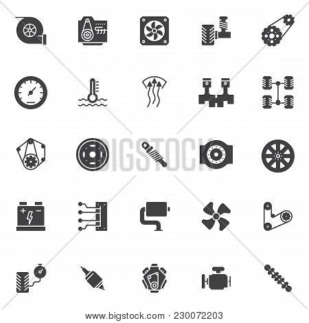 Car Engine Elements Vector Icons Set, Modern Solid Symbol Collection, Filled Style Pictogram Pack. S