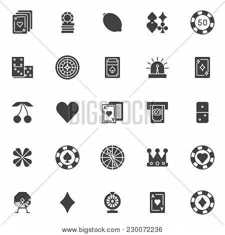 Gambling Casino Elements Vector Icons Set, Modern Solid Symbol Collection, Filled Style Pictogram Pa