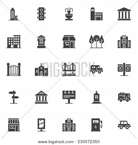City Buildings Vector Icons Set, Modern Solid Symbol Collection, Filled Style Pictogram Pack. Signs