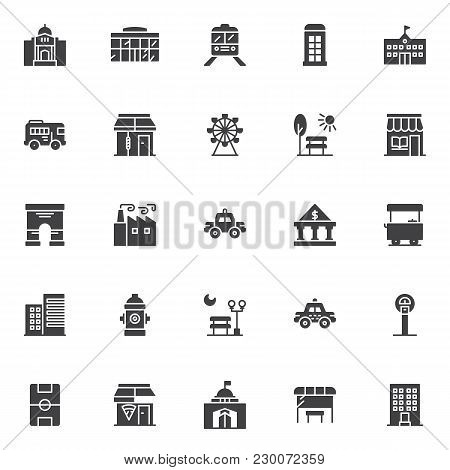 Urban Buildings Vector Icons Set, Modern Solid Symbol Collection, Filled Style Pictogram Pack. Signs