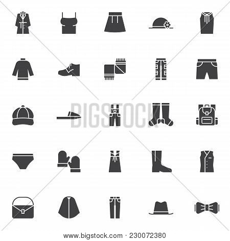 Clothing Elements Vector Icons Set, Modern Solid Symbol Collection, Filled Style Pictogram Pack. Sig
