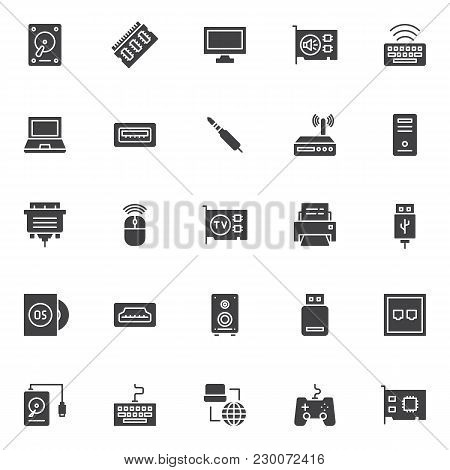 Computer Components Vector Icons Set, Modern Solid Symbol Collection, Filled Style Pictogram Pack. S