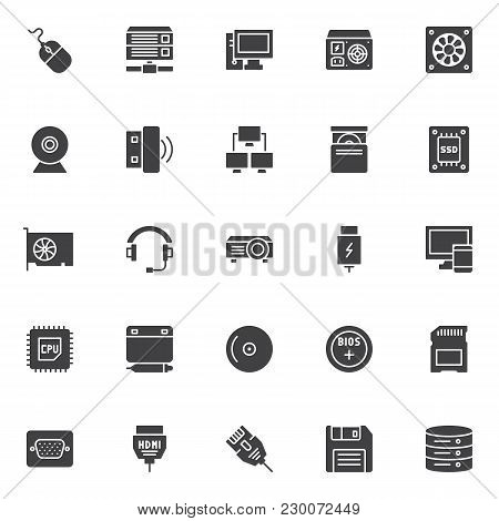 Computer Device Elements Vector Icons Set, Modern Solid Symbol Collection, Filled Style Pictogram Pa