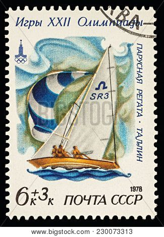 Moscow, Russia - March 08, 2018: A Stamp Printed In Ussr (russia) Shows Racing Yacht In Soling Class