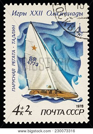 Moscow, Russia - March 08, 2018: A Stamp Printed In Ussr (russia) Shows Racing Yacht In Star Class I