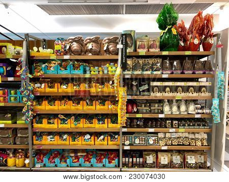 BRENT CROSS, LONDON - MARCH 6, 2018: Easter chocolate products for sale at Marks & Spencer Brent Cross in Barnet, North London, England, UK.