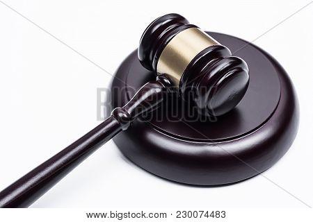 The Hammer Judge On White Background, Gavel