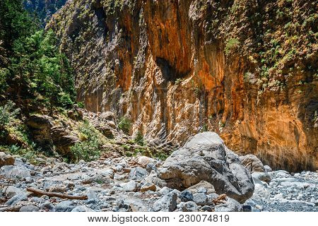 Hiking Path Through Samaria Gorge In Central Crete