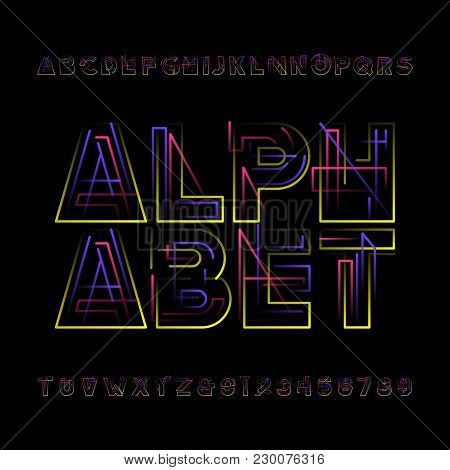 Decorative Geometric Alphabet Font. Colorfull Ype Letters And Numbers. Stock Vector Typeface For You