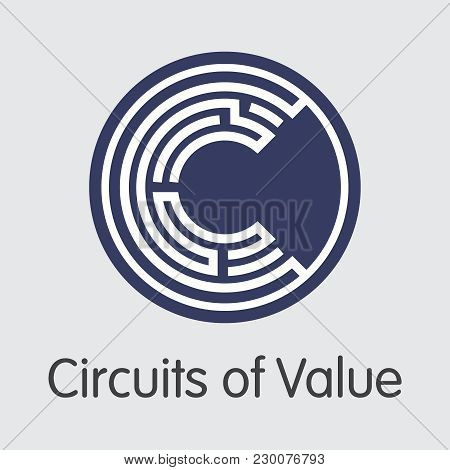 Circuits Of Value - Digital Currency Concept. Colored Vector Icon Logo And Name Of Crypto Currency O
