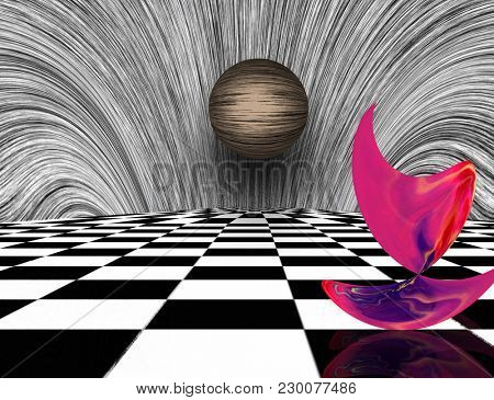 Surreal composition. Pink matter and sphere on chessboard. 3D rendering