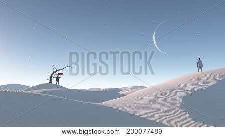 Two men in desert with bare tree and moon. Surreal Haunting Desert Concept. 3D rendering