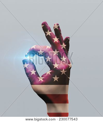 Human hand in US national colors shows OK sign. 3D rendering
