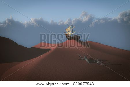 Ancient sailing ship atop red desert sand dune. 3D rendering