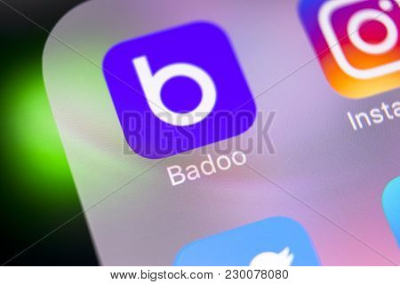 Sankt-petersburg, Russia, March 8, 2018: Badoo Application Icon On Apple Iphone X Screen Close-up. B