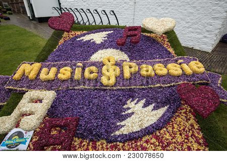 Noordwijkerhout, Netherlands - April 23,  2017: Music-themed Decoration Made Of Colorful  Hyacinths
