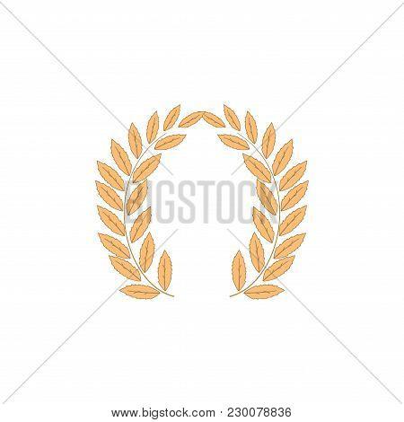 Laurel Wreath Reward. Modern Symbol Of Victory And Award Achievement Champion. Leaf Ceremony Awardin