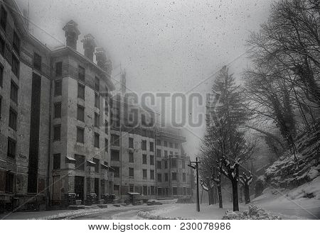 Ancient Hotel Abandoned Under A Heavy Snowfall, Campo Dei Fiori Varese