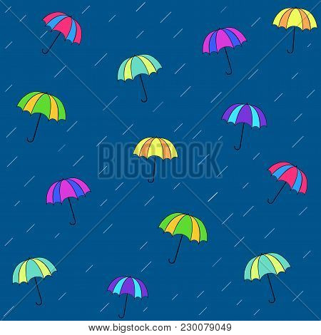 Rain Date Seamless Pattern. Silhouette Umbrella And Rain On Blue Background.template For T, Apparel,