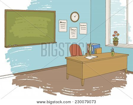 Classroom Graphic Color Interior Sketch Illustration Vector
