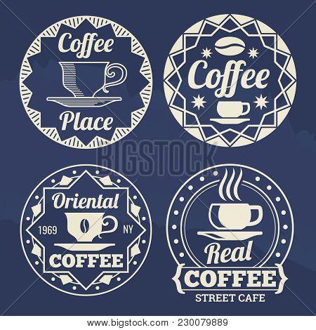 Stylish Coffee Labels Of Set Design For Cafe, Shop, Market. Vector Illustration
