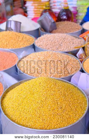Yellow Split Dal Also Know As Mogar Dal Or Mung Dal At Local Market .