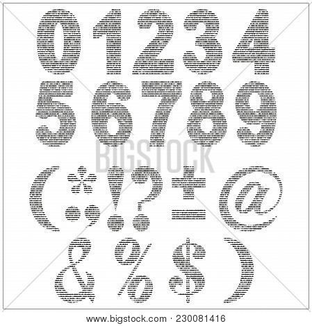 Set Of Vector Numerals. Gray Numbers And Punctuation Marks On White Background.