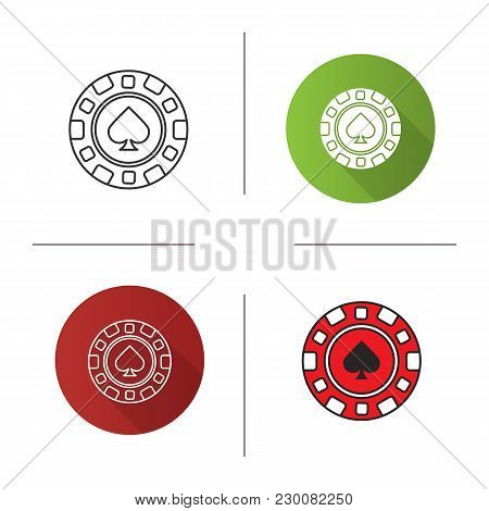 Casino Chip Icon. Flat Design, Linear And Color Styles. Gambling Token With Spade Sign. Casino. Isol