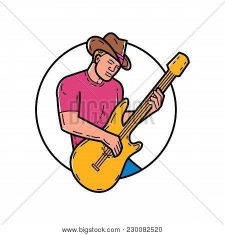 Mono Line Illustration Of Cowboy Rocker, Guitarist, Band Member, Musician Or Guitar Player, Playing