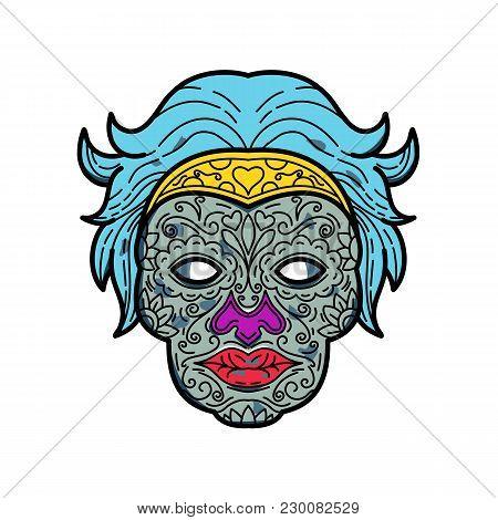 Mono Line Illustration Of A Female Calavera Or Sugar Skull, An Edible Decorative Skull Made From Sug
