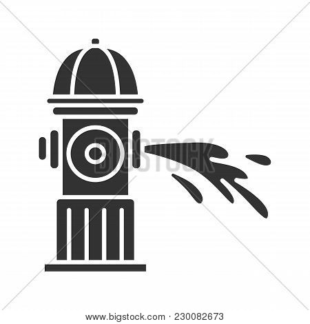 Fire Hydrant Gushing Water Glyph Icon.  Fireplug. Silhouette Symbol. Negative Space. Vector Isolated