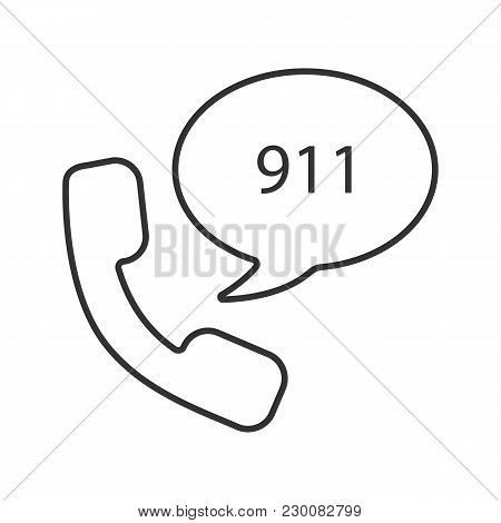 Emergency Calling Service Linear Icon. Handset And Speech Bubble With 911 Number Inside. Thin Line I
