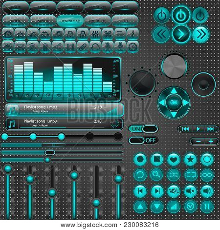 Media Player Interface, Big Set. Slider, Buttons, Equalizer.illustration Vector