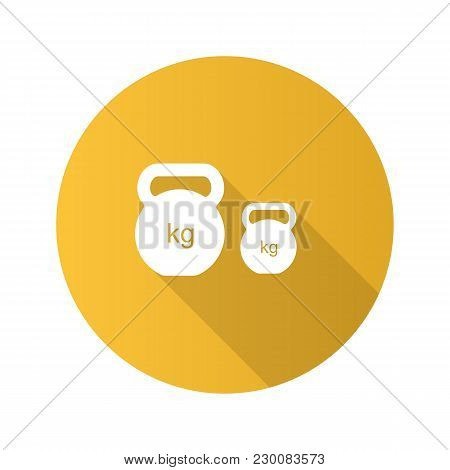 Kettlebells Flat Design Long Shadow Glyph Icon. Exercise Weights. Sports Equipment. Vector Silhouett