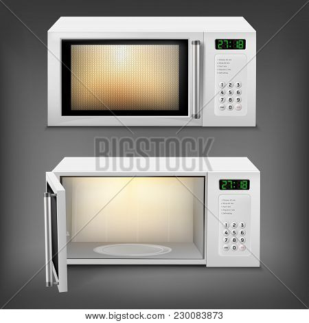 Vector 3d Realistic Microwave Oven With Light Inside, With Open And Close Door, Front View Isolated