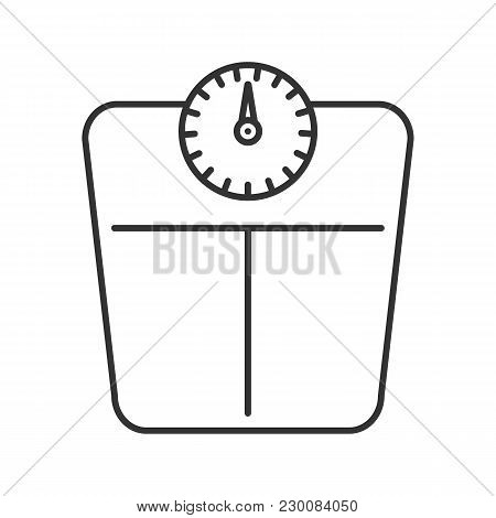 Bathroom Scales Linear Icon. Thin Line Illustration. Floor Scales. Mass Measuring Device. Contour Sy