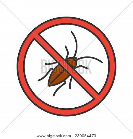Stop Cockroaches Sign Color Icon. Roach Repellent. Pest Control. Isolated Vector Illustration