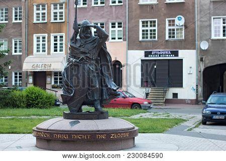 Gdansk, Poland - June 07, 2014: Sculpture Of The Swietopelk Ii, Duke Of Pomerania. Swietopelk Ii, So