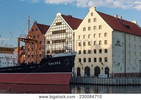 Gdansk, Poland - June 07, 2014: View Of The Soldek Ship And Maritime Museum. Soldek Was A Polish Coa