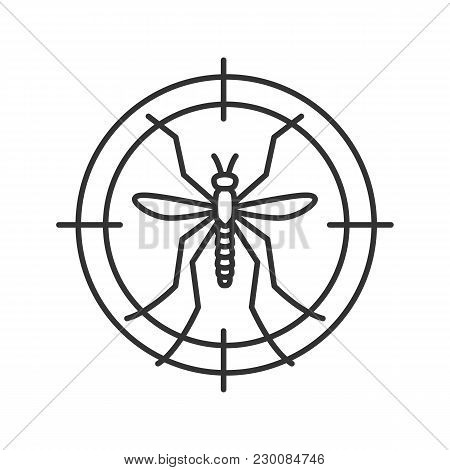 Mosquitoes Target Linear Icon. Anti-insect Repellent. Thin Line Illustration. Contour Symbol. Vector