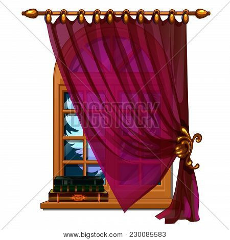 Window With Books On The Windowsill. Vector.