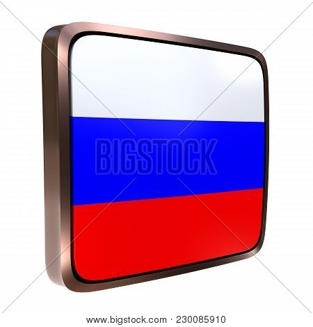 3d Rendering Of A Russian Federation Flag Icon With A Metallic Frame. Isolated On White Background.