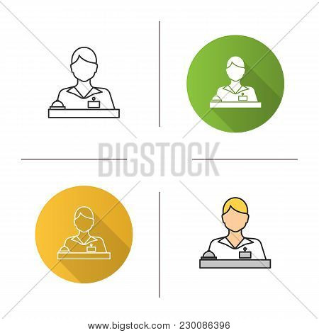 Receptionist Icon. Flat Design, Linear And Color Styles. Secretary, Manager. Isolated Vector Illustr